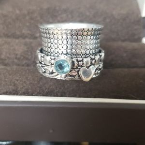 Sterling Silver Spinner Ring with AQUA gem. 6.5